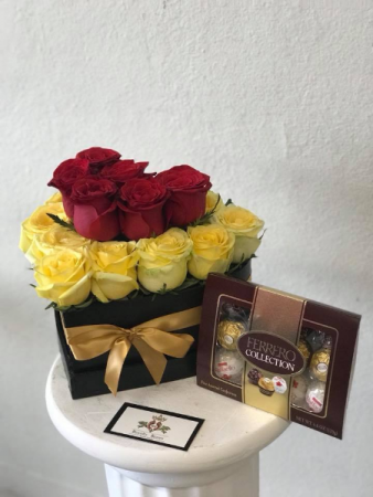 Enchanted Yellow & Red Heart Heart Shaped Box