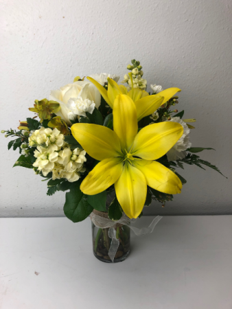 Yellow Reflections of Love Roses, Lilies and snap dragons