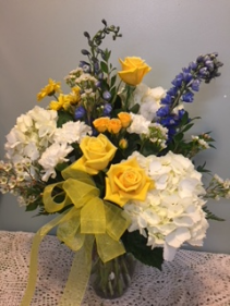 Yellow Rose and Hydrangea Arrangement