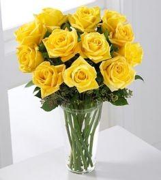 Yellow Rose Bouquet 1 Dozen Roses