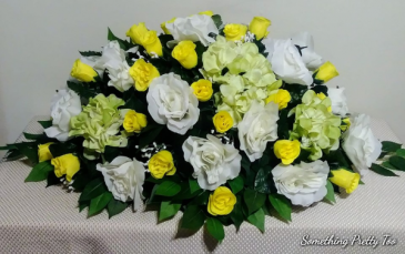 Yellow Rose Mix Artificial Flower Casket Cover