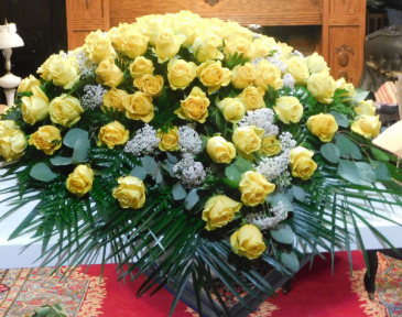 Yellow Rose Spray Blanket For Casket