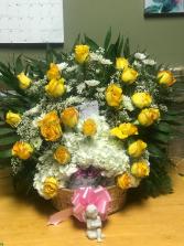 Yellow Rose Sympathy Basket basket
