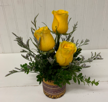 Yellow Rose Trio in Mosaic