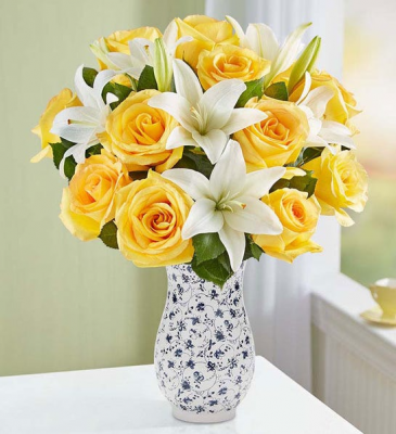 Yellow Rose & White Lily Bouquet