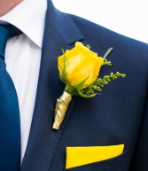 YELLOW ROSE WITH GOLD RIBBON BOUTONNIERE