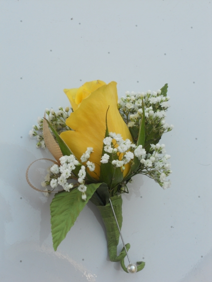 Yellow Rose with Gold Ribbon
