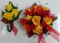Yellow Rose Wrist Corsage & Boutonniere