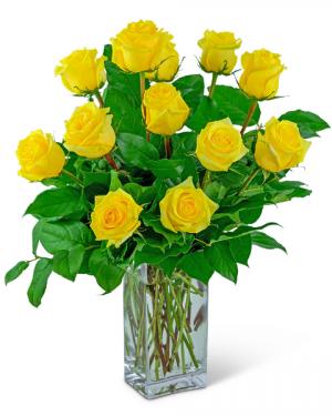 Yellow Roses (12) Flower Arrangement in Nevada, IA   Flower Bed