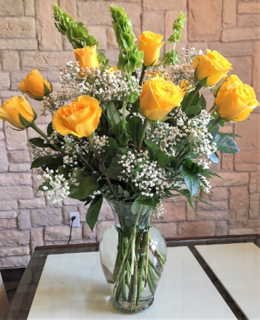 Yellow Roses and Wispy Whites Classic Dozen Roses