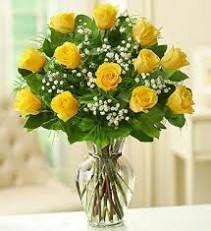 Yellow Roses Arranged in vase