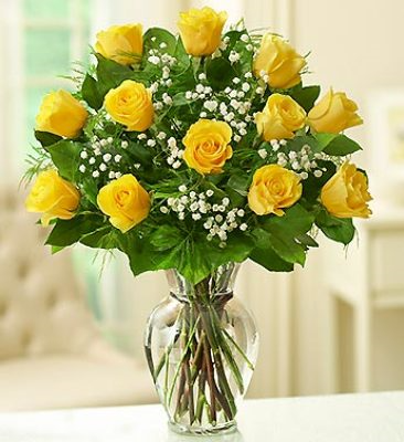 Yellow Roses & Babies Breath Vase Arrangement