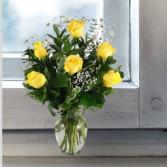 Yellow Roses- Bud Vase or 1/2 Dozen