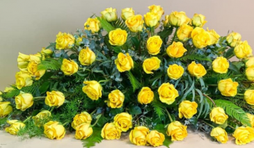 YELLOW ROSES  CASKET FLOWERS