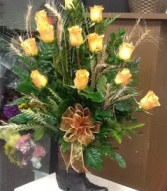 Yellow roses in cowboy boot Boot arrangement