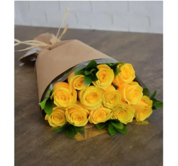 Yellow Roses in Kraft Paper Roses, Wrapped