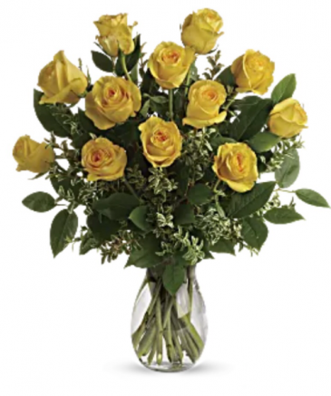 Yellow roses in vase  Roses