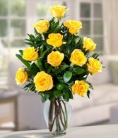 DOZEN YELLOW ROSES Vase Arrangement