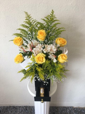 Yellow Roses with Ferrero Box with drawer