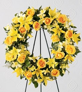 Round Wreath With All Yellow Flowers In Kitchener On Kitchener
