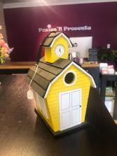 Yellow Schoolhouse Birdhouse Gift Item