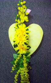 Yellow Silk Sympathy Heart