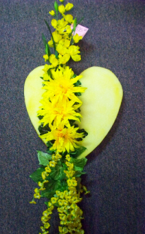 Yellow Silk Sympathy Heart