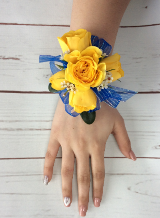 YELLOW SPRAY ROSE with blue ribbon WRIST CORSAGE