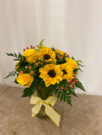 Yellow! Sunflowers and roses