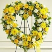 Yellow Sympathy Heart Wreath Sympathy Flowers