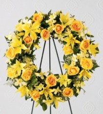 THE YELLOW SYMPATHY WREATH Funeral Flowers