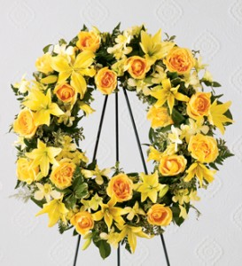THE YELLOW SYMPATHY WREATH **color can be changed as per request** in Vancouver, BC | ARIA FLORIST