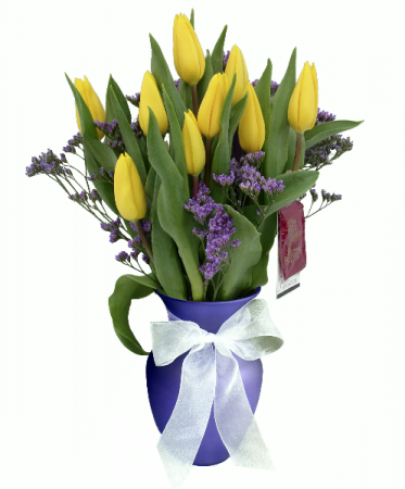 Yellow Tulip Vase Arrangement