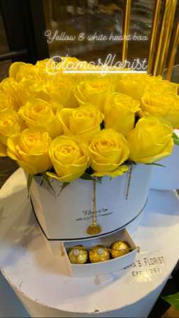 Yellow & White Heart Rose Box  Luxe floral boxes