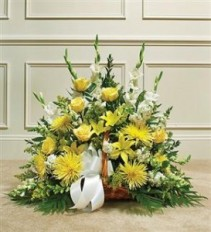 Yellow & White Mixed Fireside Basket Funeral - Sympathy