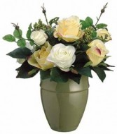 Yellow & White Rose Bouquet-SILK BOTANICAL