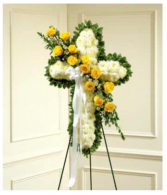 Yellow & White Standing Cross With Yellow Rose Bre