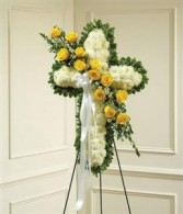 Yellow & White Standing Cross w/Yellow Rose Break Funeral