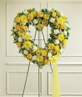 Yellow & White Standing Open Heart Funeral