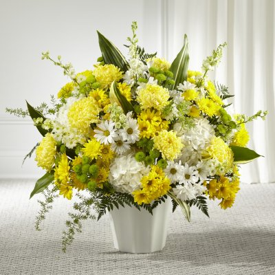 Yellow & White Sympathy Floor Basket