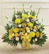 Yellow & White Sympathy Floor Basket Funeral - Sympathy