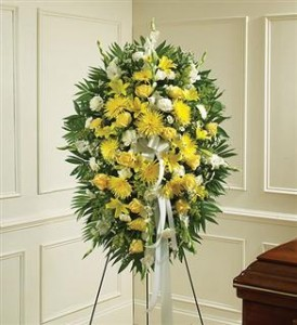 Yellow & White Sympathy Standing Spray Funeral in Crestview, FL | The Flower Basket Florist