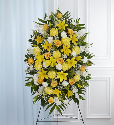 Yellow & White Sympathy Standing Spray Standing Sprays & Wreaths
