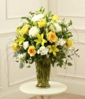 Yellow & White Sympathy Vase
