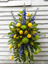 yellow,green and blue standing spray