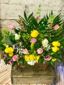 Yellow/Pink Rose Sympathy Basket basket