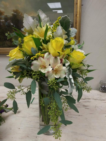 Yellows & Whites Custom Vase