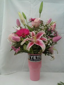 yeti cup flower arrangement available in several colors in