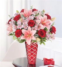 Mom, You are a Diamond!!  Beautiful Red and Pink Blooms in Diamond Cut Vase