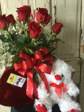 You are Loved Bouquet Roses,Chocolates and Teddy Bear